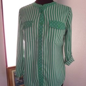 Notations Size S Stretch Long Sleeves Green BLOUSE